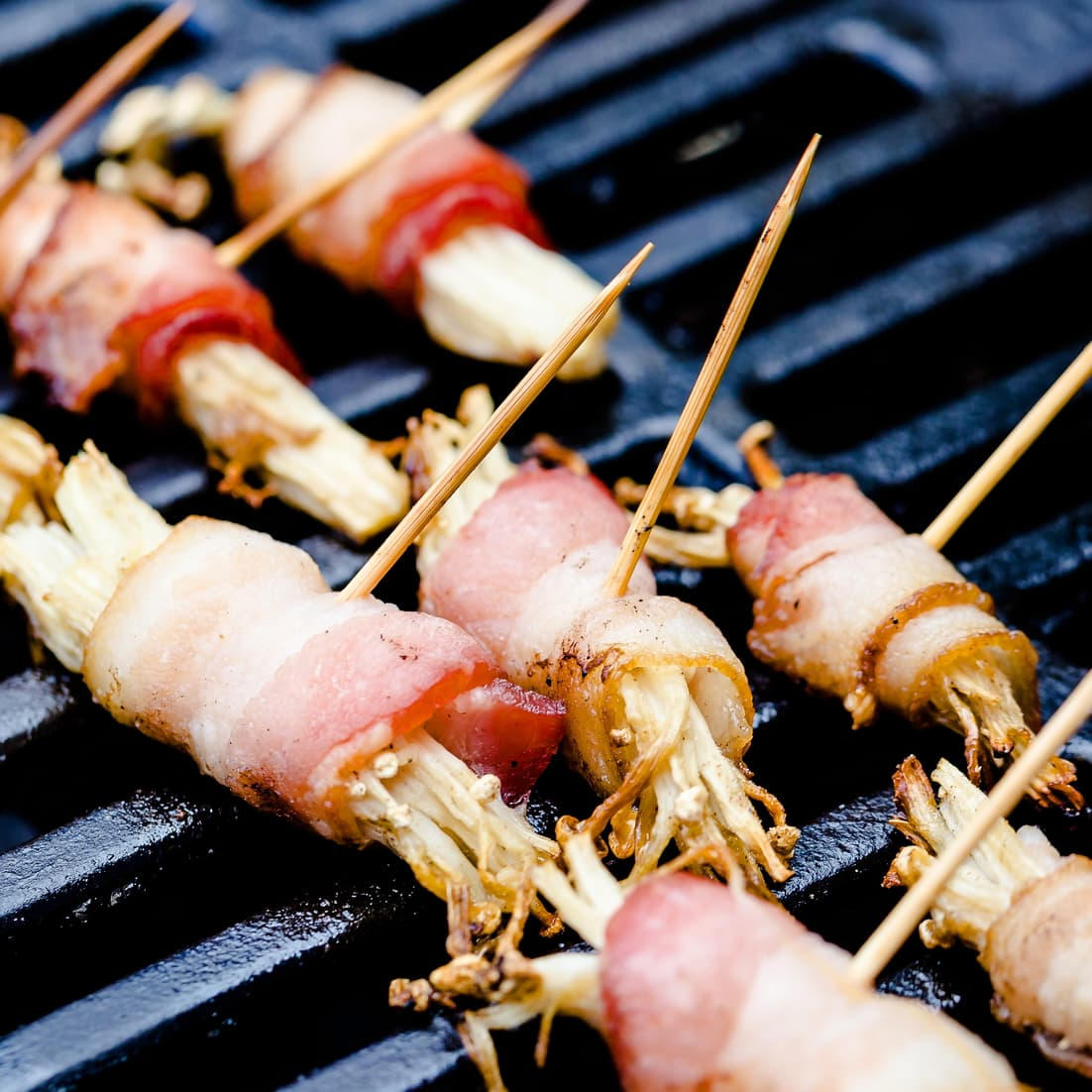 Bacon wrapped enoki mushroom on BQQ grill