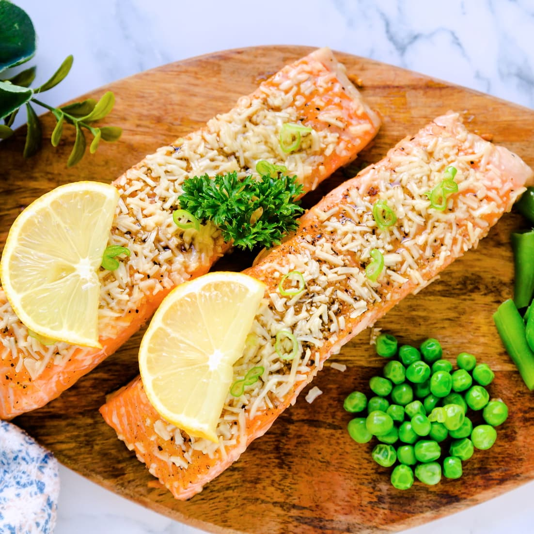 Baked Salmon with Parmesan Crust served with steamed green vegetables