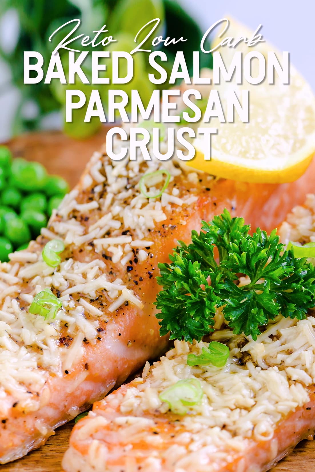 Baked Salmon with Parmesan Crust served on a wooden plank