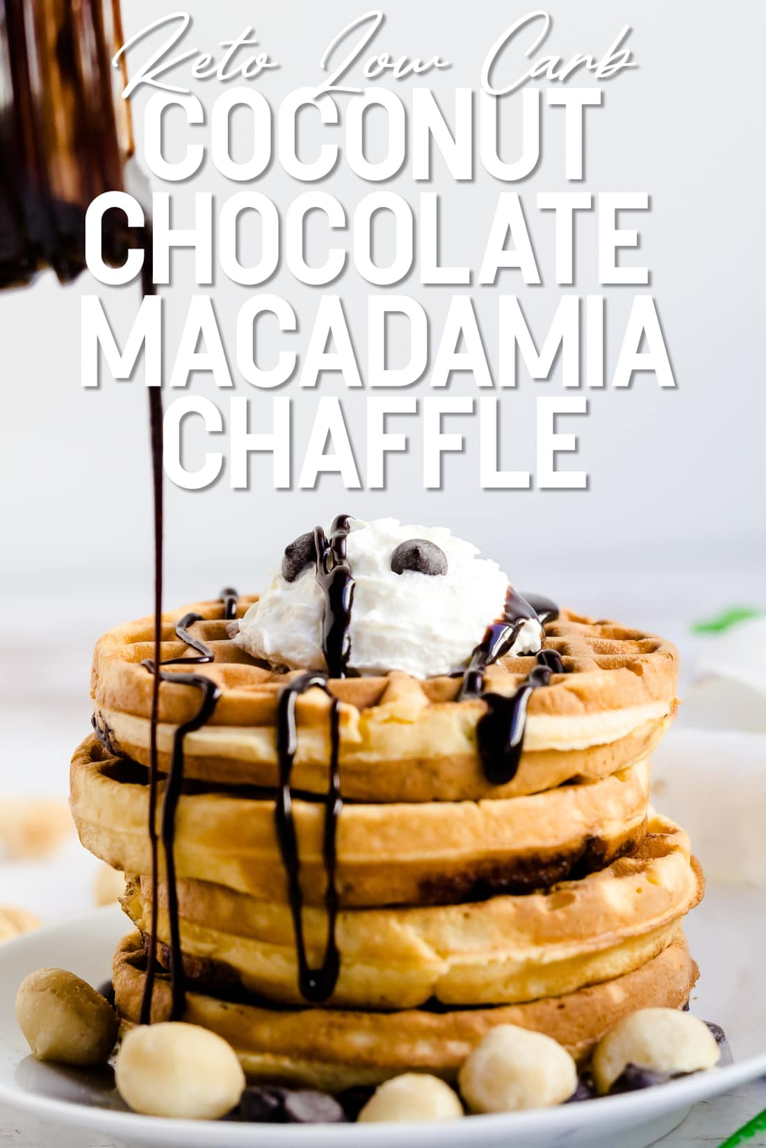 Keto chocolate syurp rbeing drizzled on top of coconut chocolate chip macadamia nut chaffle