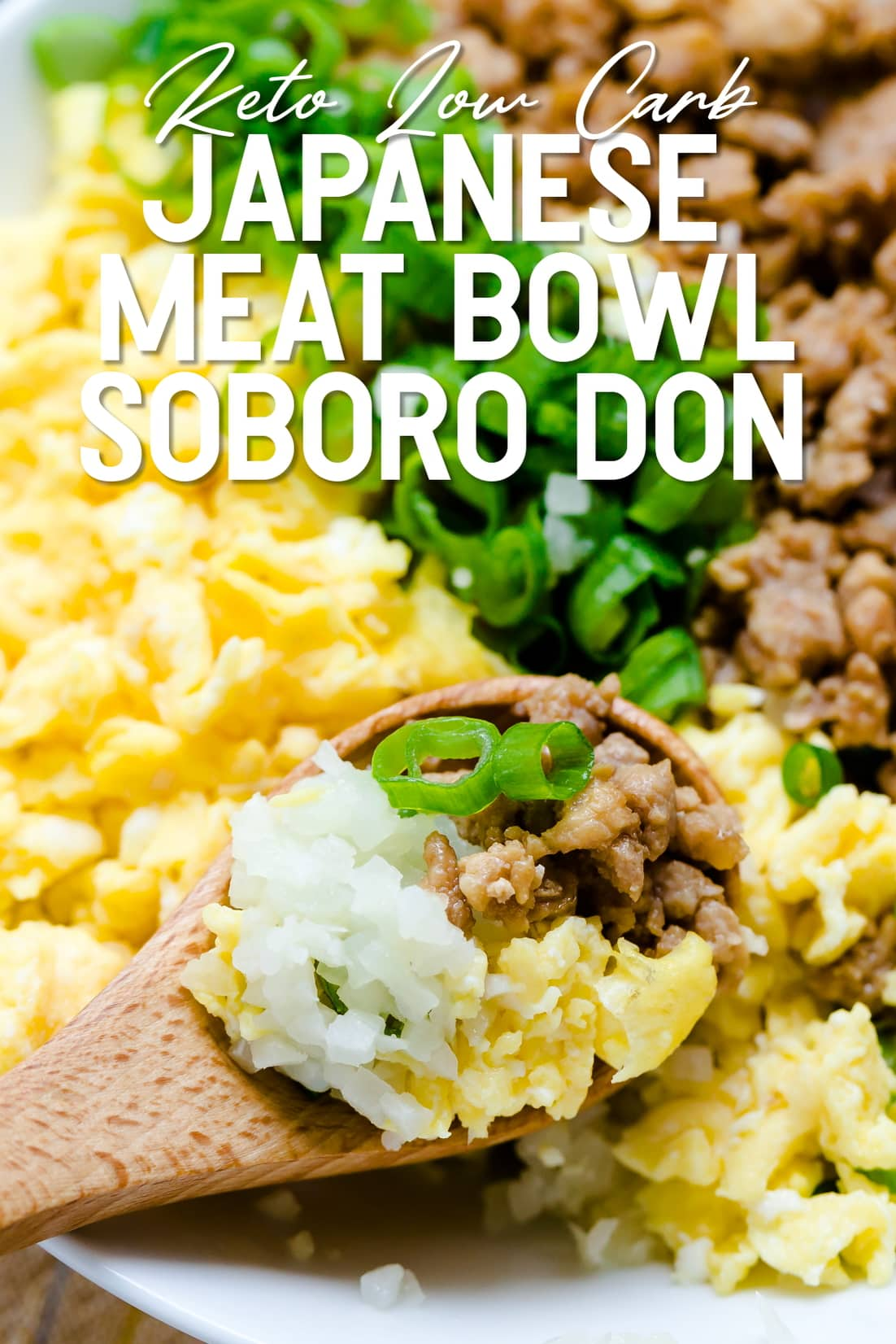 Japanese Ground Chicken Bowl Soboro Don being picked up with a wooden spoon