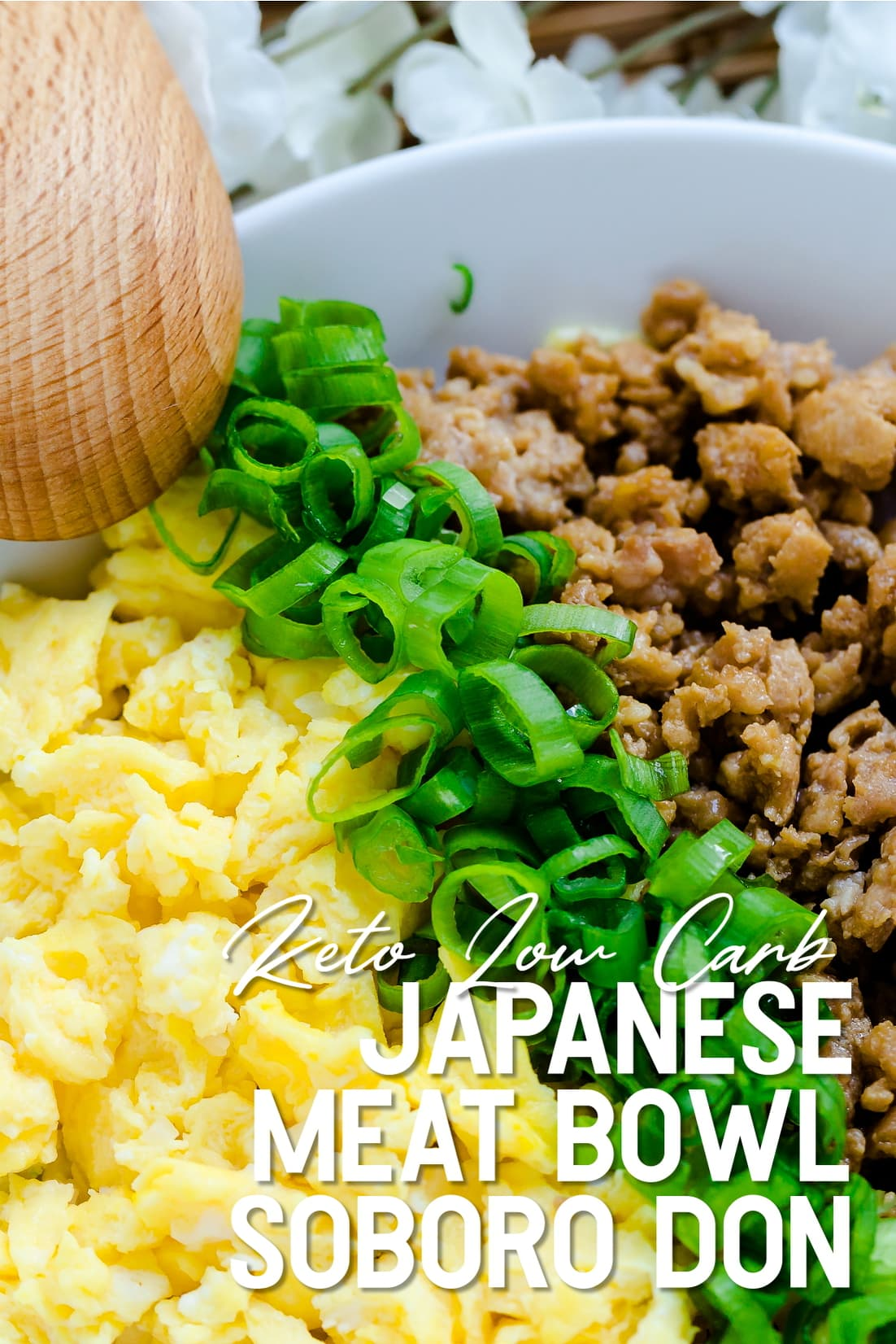 Japanese Ground Meat Chicken Soboro Don served in a white bowl
