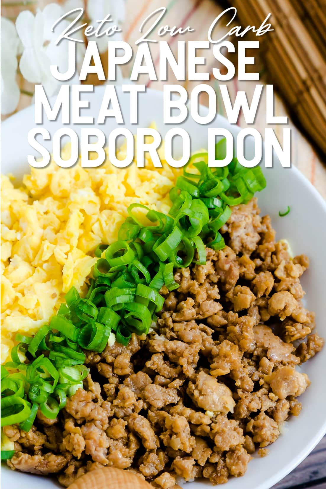 Japanese Ground Chicken Bowl Soboro Don served in a white bowl
