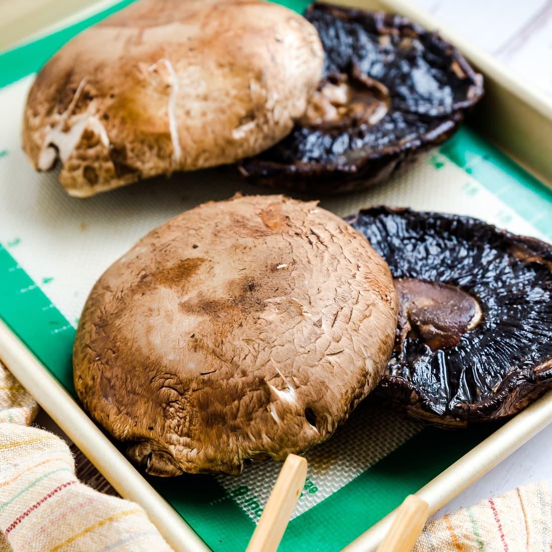 Portobello Mushrooms on a oven tray ready for baking