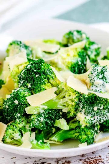 Broccoli Caesar salad served in a white bowl