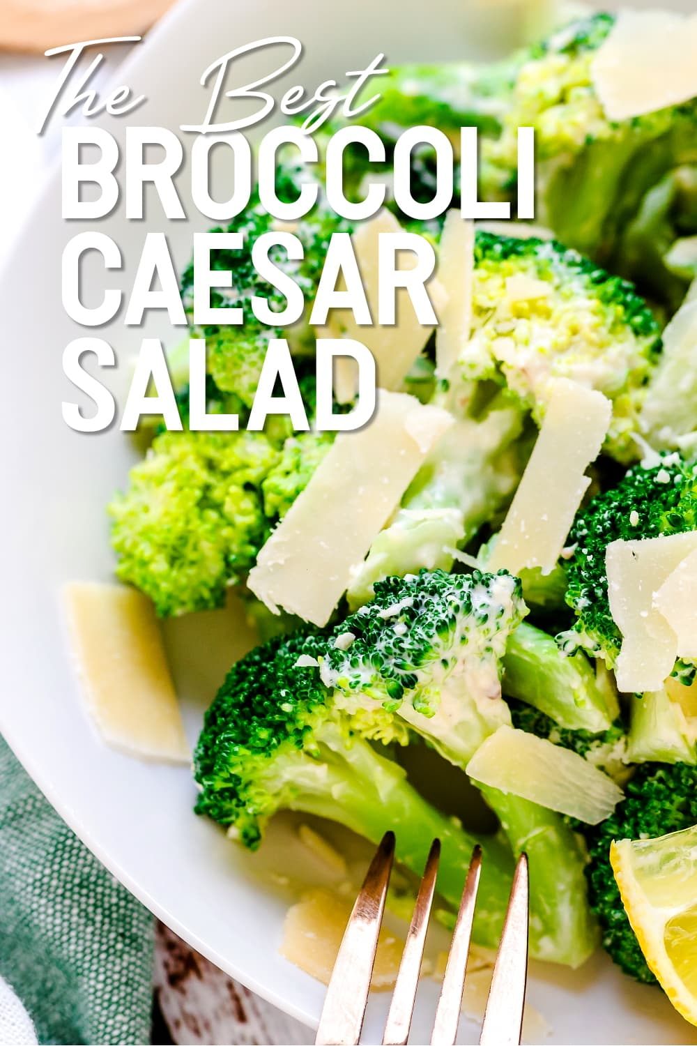Broccoli Caesar Salad served in a bowl with fork