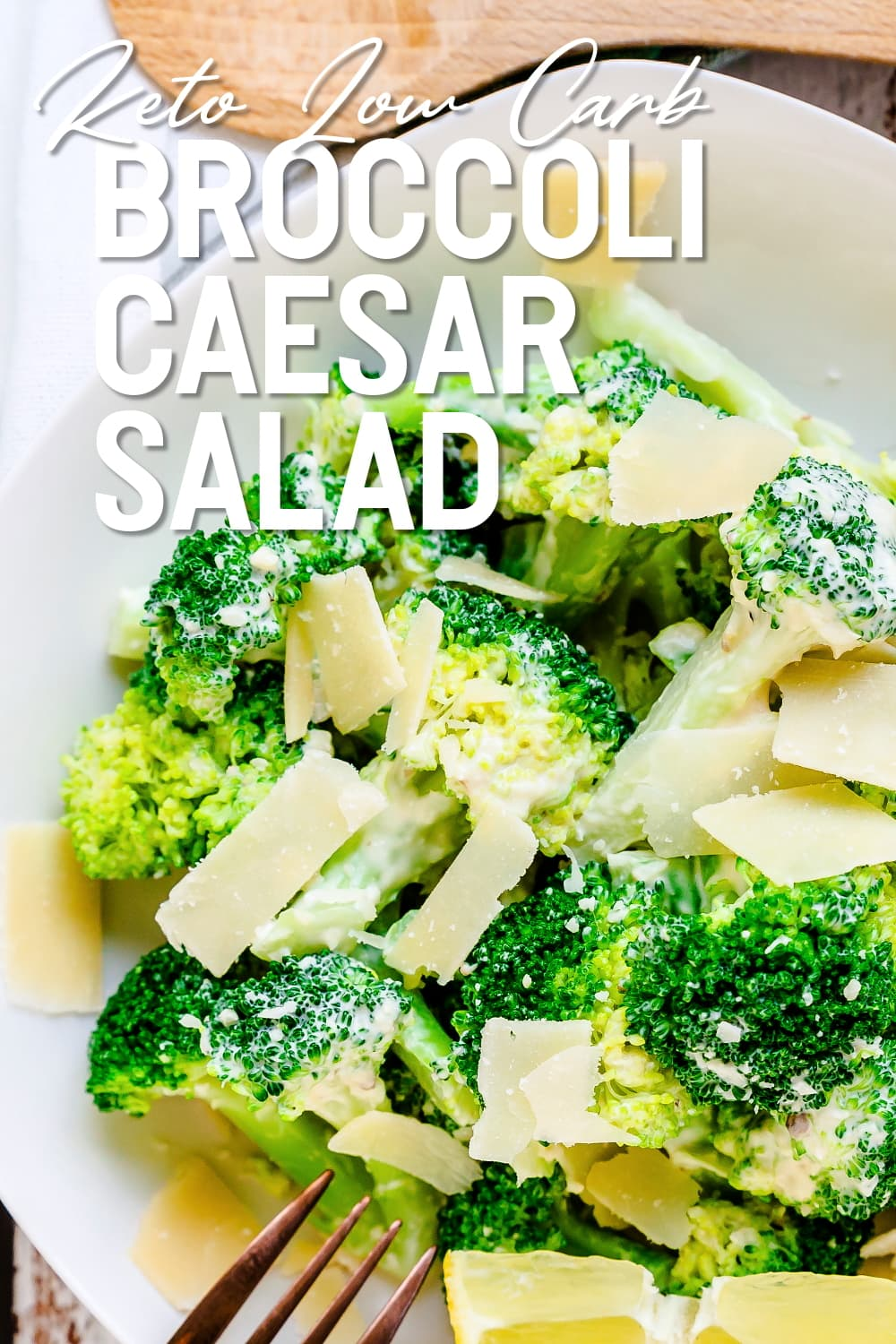 Broccoli Caesar Salad served in a bowl