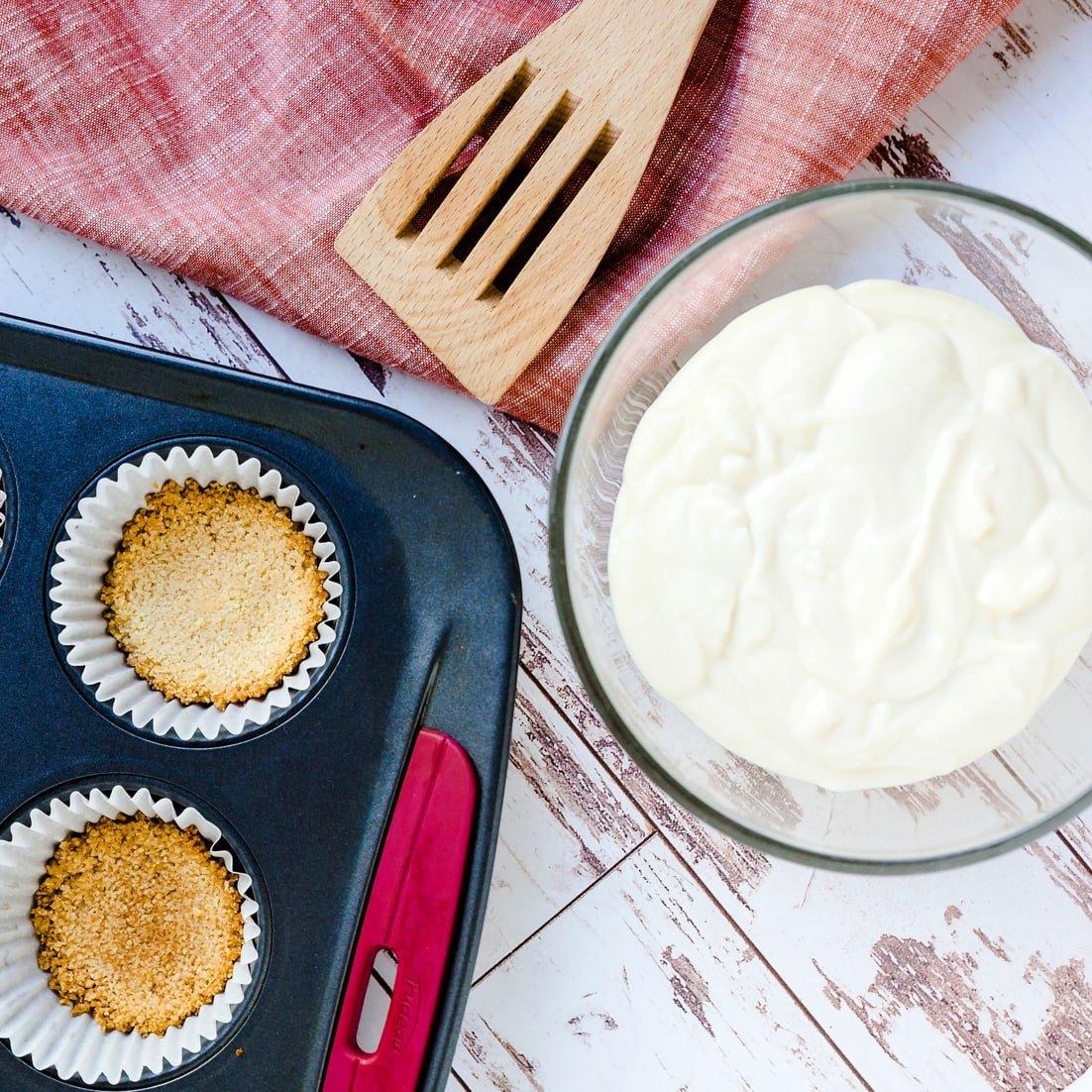 ingredients for keto tofu cheesecake before baking