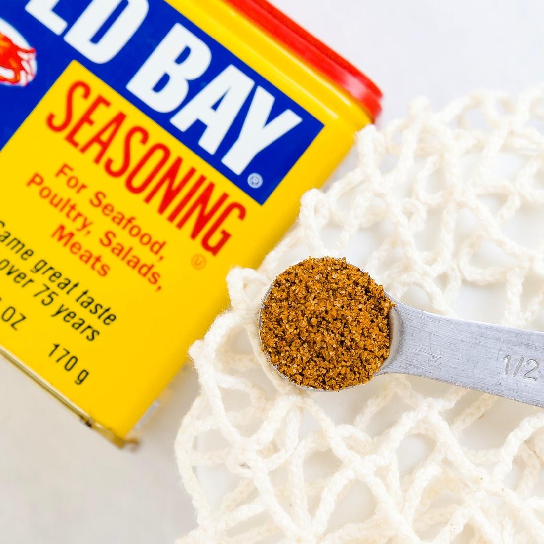 Old Bay seasoning in a measuring spoon