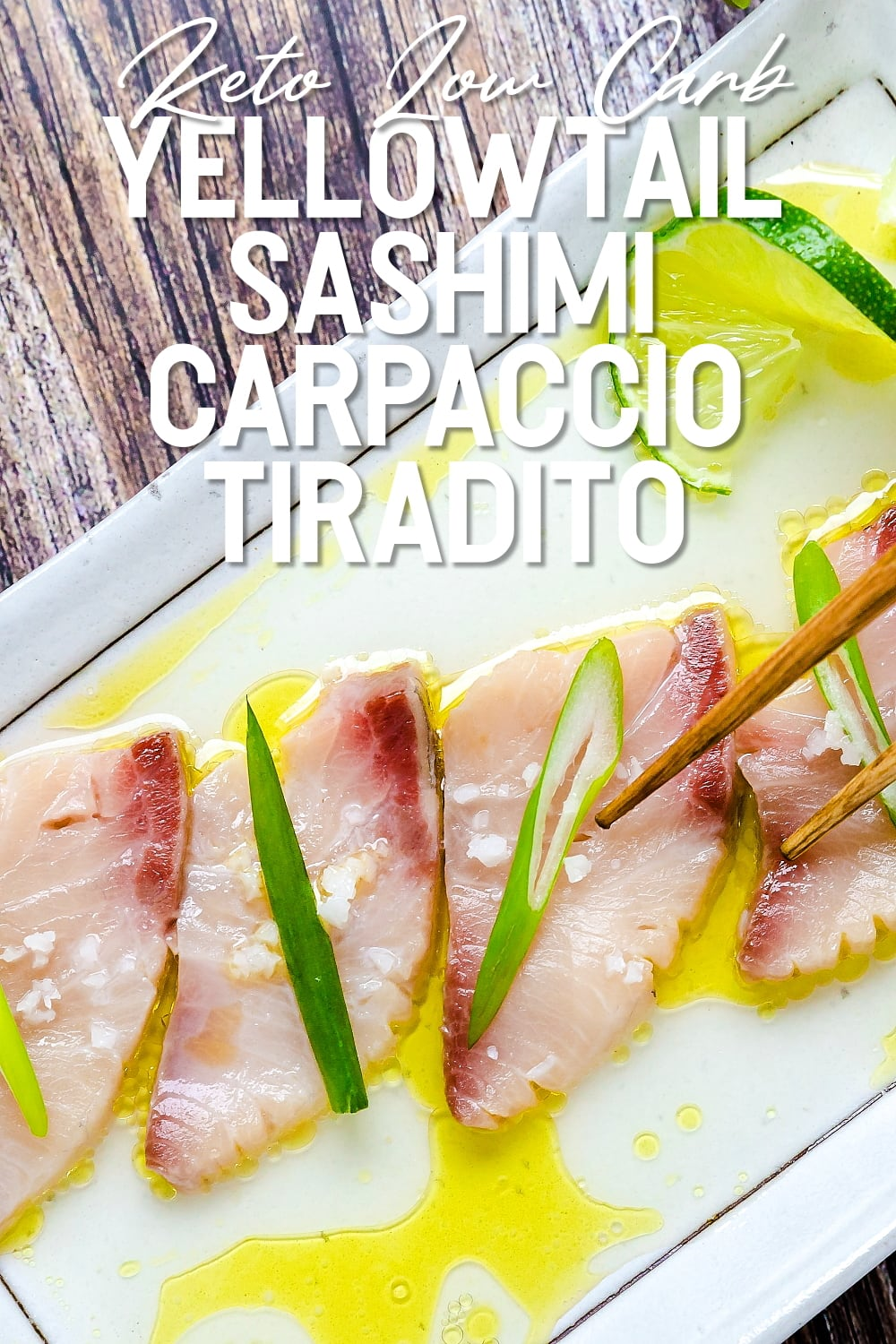 Peruvian style Yellowtail Sashimi Carpaccio Tiradito served on a white plate being picked up by chopsticks