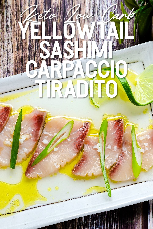 Peruvian style Yellowtail Sashimi Carpaccio Tiradito served on a white plate